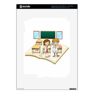 Book of scientists working in the class iPad 3 decals