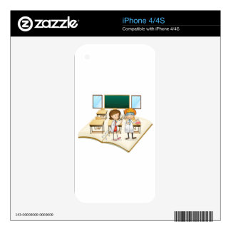 Book of scientists working in the class skins for iPhone 4