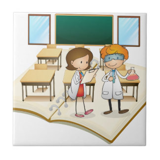 Book of scientists working in the class tile