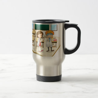 Book of scientists working in the class travel mug