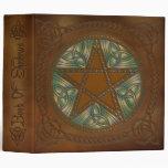 Book Of Shadows Golden Brown & Green Pentagram - 1 3 Ring Binder