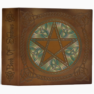 Book Of Shadows Golden Brown & Green Pentagram - 1 3 Ring Binder