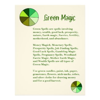 Book of Shadows Green Color Magic Page