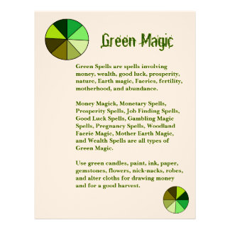 Book of Shadows Green Color Magic Page Letterhead