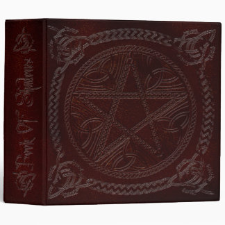 Book Of Shadows in Deep Red with Pentagram 3 Ring Binder