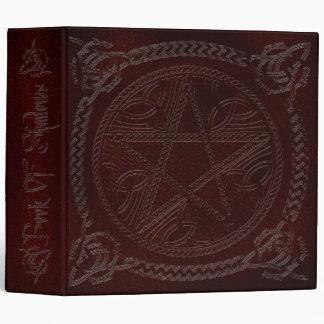 Book Of Shadows in Deep Red with Pentagram 3 Ring Binder