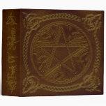 Book Of Shadows in Golden Brown Pentagram Binder