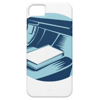 Book On Car Seat Oval Woodcut iPhone SE/5/5s Case