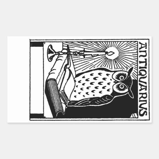 Book Owl & Candle Rectangular Sticker
