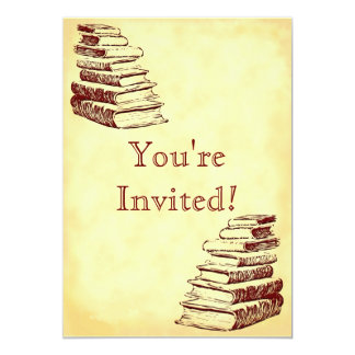 Book Party Vintage Art Custom Invitions 5x7 Paper Invitation Card