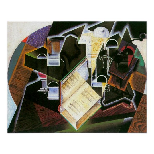 Book, Pipe and Glasses, Juan Gris, Vintage Cubism Poster