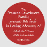 Book Plate In Memory Sticker
