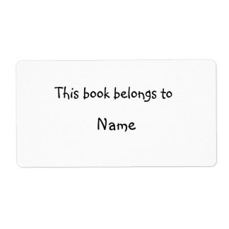 Book plate - Simple white Personalized Shipping Label