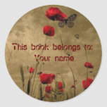 Book plate sticker, flower and butterfly