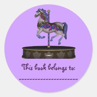 Book Plate Sticker (Purple Carousel Horse)