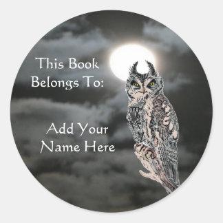Book Plate-Wiccan Owl Classic Round Sticker