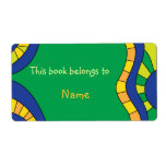 Book plate with colorful modern abstract shapes personalized shipping labels