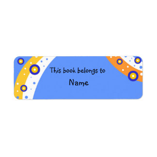 Book plate with colorful modern abstract shapes return address label