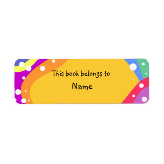 Book plate with colorful modern abstract shapes custom return address labels