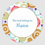 Book plate with colorful retro design stickers