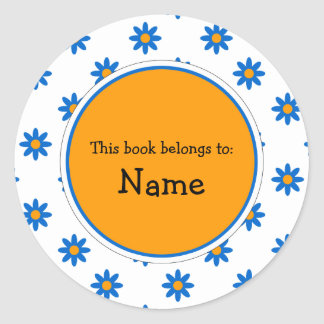 Book Plate with cute flower design Round Stickers