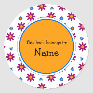 Book Plate with cute flower design Stickers