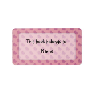 Book plate with modern colorful hearts address label