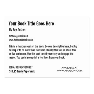 Book Promotion Trading Card Template Business Card