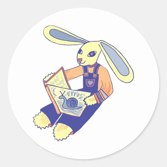 Book Reading Bunny Classic Round Sticker