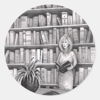 Book Reading Classic Round Sticker