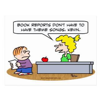 book reports theme songs school teacher postcard