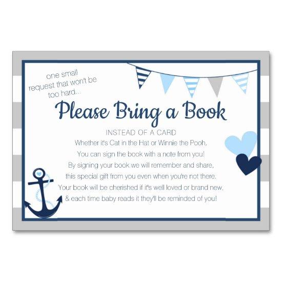 Book Request Ahoy Nautical Boy Baby Shower Card