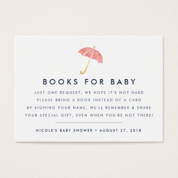 Toddler & Baby themed Book Request | Coral Baby Shower Insert Card