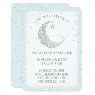Book Request Moon Star Baby Shower Silver Blue Card