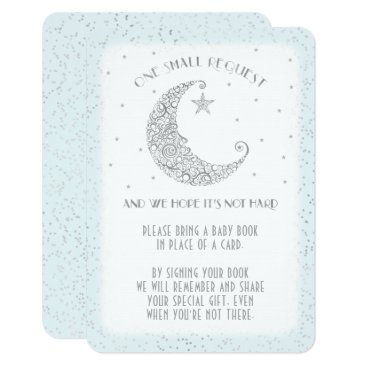 Toddler & Baby themed Book Request Moon Star Baby Shower Silver Blue Card