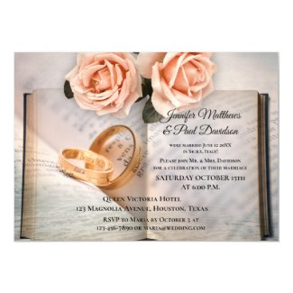 Book Roses Elope or Post Wedding Party Invitation