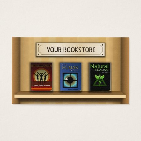 Three Books on a Bookshelf Book Store Business Cards