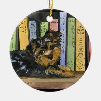 Book Shelf Cutie Double-Sided Ceramic Round Christmas Ornament