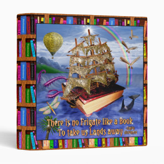Book Ship Ocean Scene with Emily Dickinson Quote 3 Ring Binder