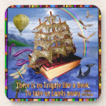 Book Ship Ocean Scene with Emily Dickinson Quote Beverage Coaster