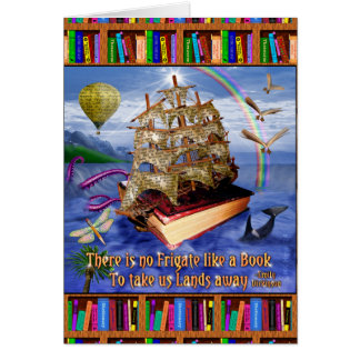 Book Ship Ocean Scene with Emily Dickinson Quote Card