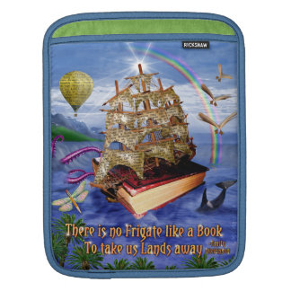 Book Ship Ocean Scene with Emily Dickinson Quote Sleeves For iPads