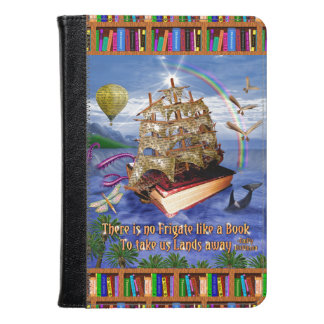 Book Ship Ocean Scene with Emily Dickinson Quote Kindle Case