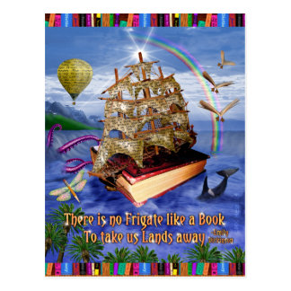 Book Ship Ocean Scene with Emily Dickinson Quote Postcard