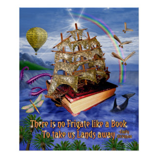 Book Ship Ocean Scene with Emily Dickinson Quote Poster