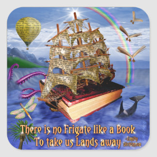 Book Ship Ocean Scene with Emily Dickinson Quote Square Sticker