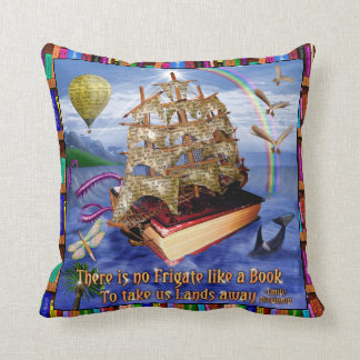 Book Ship Ocean Scene with Emily Dickinson Quote Throw Pillow