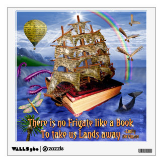 Book Ship Ocean Scene with Emily Dickinson Quote Wall Decal