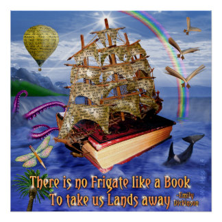 Book Ship on Ocean Emily Dickinson Quote Square Poster