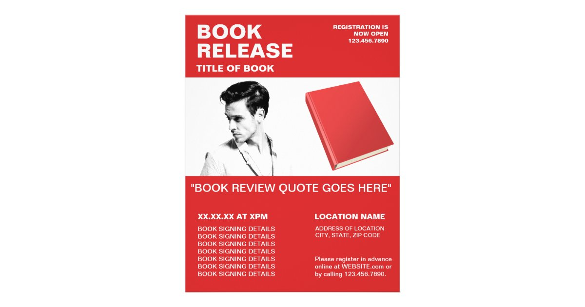 Book Signing Flyer Author Collection Red Zazzle